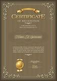 Certificado de bastidor del vintage del reconocimiento Retrato Fotos de archivo