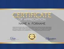 Certificado de diseño moderno del aprecio Imagenes de archivo