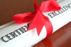 Certificado de excelencia Imagen de archivo libre de regalías