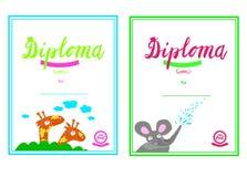 Certificado de guardería y elemental, plantilla del diploma de la plantilla del diploma, plantilla para los estudiantes de la gua stock de ilustración