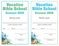 Certificado de la asistencia a la escuela de la biblia stock de ilustración