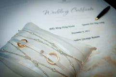 Certificado de la boda foto de archivo libre de regalías