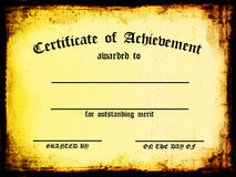 Certificado de logro Fotos de archivo libres de regalías