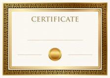 Certificado de logro con el sello de la cera Foto de archivo libre de regalías