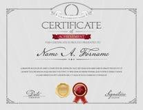 Certificado de logro con Laurel Wreath Marco elegante Imágenes de archivo libres de regalías