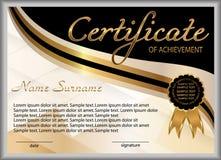Certificado de logro, diploma recompensa Ganar la competencia ganador del premio Oro y elementos decorativos del negro Vector stock de ilustración