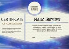 Certificado de logro o de plantilla del diploma Fotografía de archivo libre de regalías