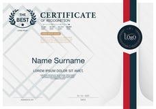 Certificado de plantilla de la disposición de la plantilla del diseño del marco del RECONOCIMIENTO de tamaño A4 Fotos de archivo