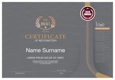 Certificado de plantilla de la disposición de la plantilla del diseño del marco del RECONOCIMIENTO de tamaño A4 Fotografía de archivo libre de regalías