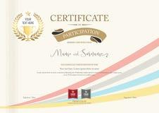 Certificado de plantilla de la participación con el laurel de oro del premio stock de ilustración