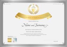Certificado de plantilla de la participación en la frontera de plata ilustración del vector
