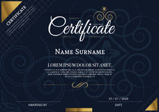 Certificado de plantilla del diseño del marco del logro, azul Fotos de archivo