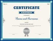 Certificado de plantilla del logro en vector Fotografía de archivo libre de regalías