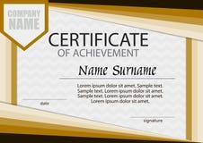 Certificado de plantilla del logro horizontal Fotos de archivo libres de regalías