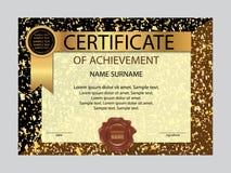 Certificado de plantilla del logro Vector Imagen de archivo