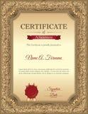 Certificado de plantilla del reconocimiento con el marco floral del vintage Fotos de archivo