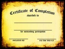 Certificado de terminación Fotos de archivo libres de regalías
