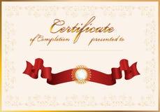 Certificado de terminación. Modelo. Foto de archivo libre de regalías