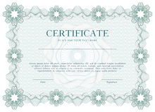 Certificado del guilloquis o fondo verde de la plantilla del diploma, diseño moderno Ilustración del vector Fotos de archivo libres de regalías