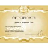 Certificado del oro Imagen de archivo