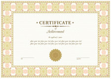 Certificado del vector Imagen de archivo libre de regalías