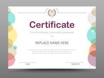 Certificado, diploma de la realización, certificado del logro d Fotos de archivo libres de regalías