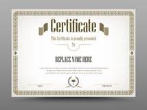 Certificado, diploma de la realización, certificado del logro d Foto de archivo libre de regalías