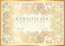 Certificado, diploma do molde dourado do projeto da conclusão, fundo branco ilustração stock