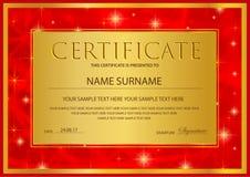 Certificado, diploma do templat da conclusão, fundo do ouro com estrelas e quadro dourado ilustração royalty free
