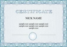 Certificado, diploma para la impresión imagen de archivo libre de regalías