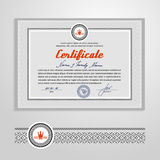Certificado, diploma, plantilla del diseño Imagen de archivo libre de regalías