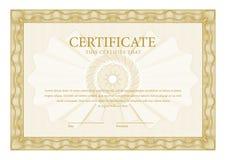 certificado Diplomas de la plantilla, moneda Fotografía de archivo libre de regalías