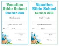 Certificado do comparecimento de escola da Bíblia ilustração stock