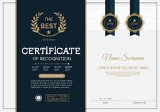 Certificado do molde da disposição do molde do projeto do quadro da realização no tamanho A4 Fotografia de Stock