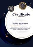 Certificado do molde da disposição do molde do projeto do quadro da realização no tamanho A4 ilustração stock