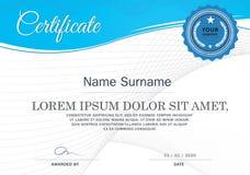Certificado do molde do projeto do quadro da realização, azul Foto de Stock