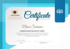 Certificado do molde do projeto do quadro da realização, azul ilustração royalty free