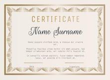 Certificado do molde do vetor da apreciação com beira do guilloche Fotografia de Stock