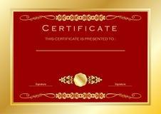 Certificado do ouro/molde vermelhos concessão do diploma, luxo Imagem de Stock Royalty Free