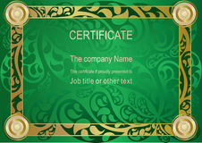 Certificado do ouro verde Fotos de Stock