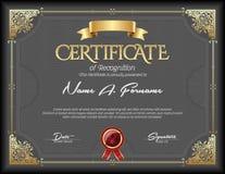 Certificado do quadro do ouro do vintage do reconhecimento Imagens de Stock