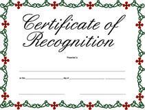 Certificado do reconhecimento ilustração do vetor