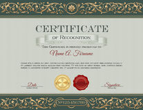 Certificado do reconhecimento vintage Quadro floral, ornamento Imagem de Stock Royalty Free