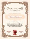 Certificado do retrato da conclusão com quadro do vintage do ornamento floral Imagem de Stock Royalty Free