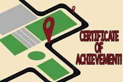 Certificado do texto da escrita da realização O significado do conceito certifica que excepcionalmente bem uma estrada feita de d ilustração do vetor