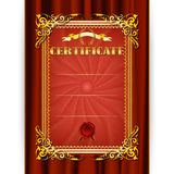 Certificado do vetor no fundo de matéria têxtil Foto de Stock Royalty Free