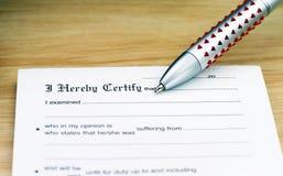 Certificado doente Fotos de Stock