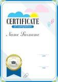 Certificado e emblema oficiais da educação Imagens de Stock Royalty Free