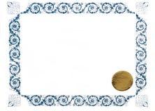 Certificado em branco imagens de stock royalty free