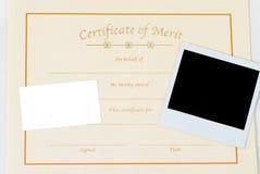 Certificado em branco Foto de Stock